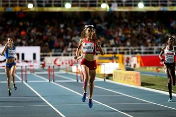Sydney McLaughlin winning the girls' 400m hurdles title at the IAAF World Youth Championships, Cali 2015 (Getty Images)
