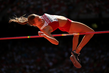 Laura Ikaunice-Admidina in the heptathlon high jump at the IAAF World Championships (Getty Images)