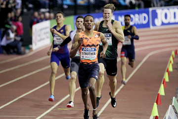Nathan Strother wins the 400m at the IAAF World Indoor Tour meeting in Madrid (Jean-Pierre Durand)