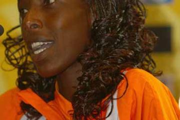 Lornah Kiplagat of the Netherlands during the Press Conference (Getty Images)