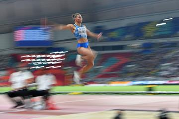 Maryna Bekh-Romanchuk of Ukraine in action at the 2019 World Championships (AFP/Getty Images)