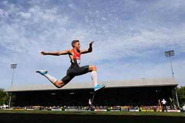 Germany's Max Hess in the triple jump at the IAAF World Junior Championships, Oregon 2014 (Getty Images)