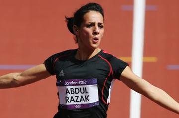 Dana Abdul Razak of Iraq competes in the Women's 100m Heats on Day 7 of the London 2012 Olympic Games at Olympic Stadium on August 3, 2012 in London, England. (Getty Images)