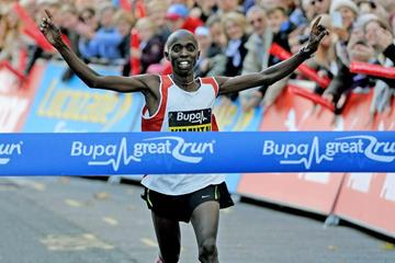Joel Kimutai wins at the 2014 Bupa Great Birmingham Run (Mark Shearman)