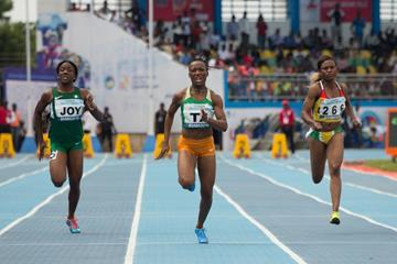 Marie Josee Ta Lou takes the African 100m title in Asaba (Bob Ramsak)