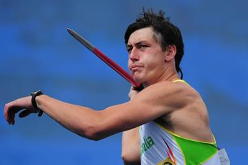 Australian decathlete Jake Stein in action in the javelin (Getty Images)