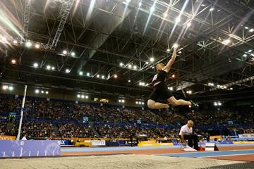 Greg Rutherford at the 2015 Sainsbury's Indoor Grand Prix in Birmingham (Getty Images)