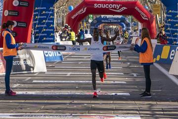 Eric Kiptanui winning the Barcelona Half Marathon (Organisers)
