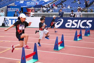 Children take part in the Asics Kids Decathlon Challenge in Yokohama (Roger Sedres)