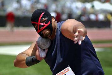 USA's Reese Hoffa competes as the 'Unknown Shot Putter' at the 2003 Home Depot Invitational (Kirby Lee)