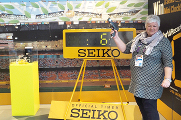 Seiko's Susan Boobyer at the IAAF World Indoor Championships Birmingham 2018 (Seiko)