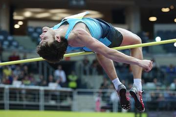 Ivan Ukhov jumping at the 2014 Prague indoor meeting (Praha Indoor 2014 / Pavel Lebeda)