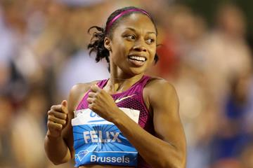 Allyson Felix after winning the 200m at the 2014 IAAF Diamond League final in Brussels (Gladys von der Laage)