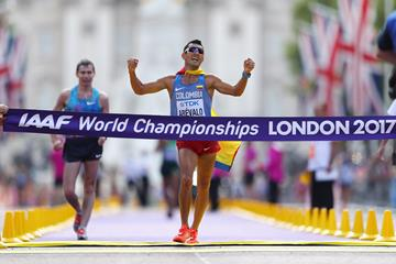 Eider Arevalo of Colombia wins the 20km race walk at the IAAF World Championships London 2017 (Getty Images)