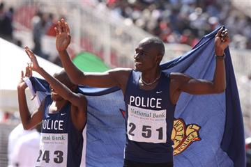David Rudisha celebrates his 800m victory at the 2011 National Bank of Kenya National Athletics Championships (Boniface okendo )