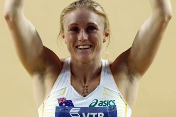 Sally Pearson of Australia celebrates her 60m hurdles win (Getty Images)
