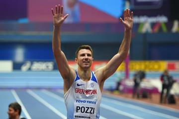 60m hurdles winner Andrew Pozzi at the IAAF World Indoor Championships Birmingham 2018 (Getty Images)