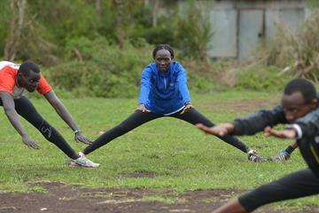 Anjelina Nadai Lohalith trains at the Refugee Athletes Centre in Ngong (AFP / Getty Images)