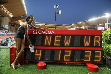 Sifan Hassan and her world record numbers at the IAAF Diamond League meeting in Monaco (Philippe Fitte)