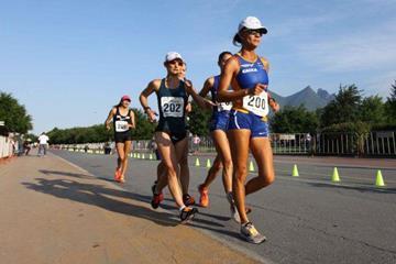 Erica de Sena leading the 20km in Monterrey (Estatal de Cultura Física y Deporte de Nuevo Leon)