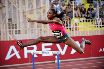 Lashinda Demus flies over a barrier in Monaco on her way to 52.63sec win (Jiro Mochizuki (Agence Shot))