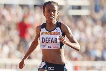 Meseret Defar wins the 5000m at the 2010 Diamond League meeting in Stockholm (Getty Images)