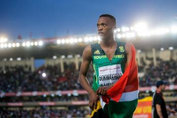 Sokwakhana Zazini after winning the 400m hurdles at the IAAF World U18 Championships Nairobi 2017 (Getty Images)