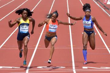 English Gardner wins the 100m international race at the 2015 IAAF Diamond League meeting in Eugene (Kirby Lee)