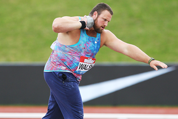 Shot put winner Tom Walsh at the IAAF Diamond League meeting in Birmingham (Jean-Pierre Durand)