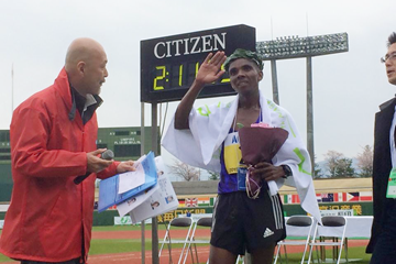Henry Chirchir after winning the 2015 Nagano Marathon (Organisers)