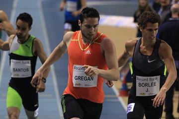 Brian Gregan winning at the 2013 Gent Indoor meeting (Jean-Pierre Durand)