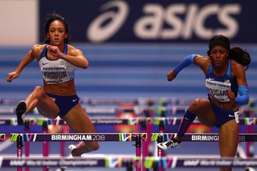 Katarina Johnson-Thompson and Erica Bougard in the pentathlon 60m hurdles at the IAAF World Indoor Championships Birmingham 2018 (Getty Images)