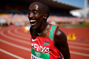 Edward Zakayo of Kenya after winning the 5000m (Getty Images)