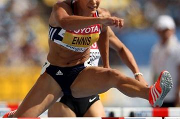 Defending Hetathlon champion Jessica Ennis in action in the 100m Hurdles (Getty Images)