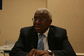 IAAF President Lamine Diack at the IAAF Press Conference post the Council Meeting in Monaco, 21 Nov (Bob Ramsak)