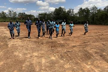 Members of the Athlete Refugee Team training on their new nearly-completed track in Ngong (Daniel Kiptugen)
