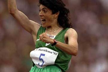 Algeria's Hassiba Boulmerka celebrates 1992 Olympic gold (Getty Images)