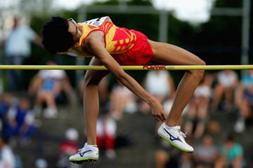 Chen Wang of China on his way to gold in the High Jump final (Getty Images)