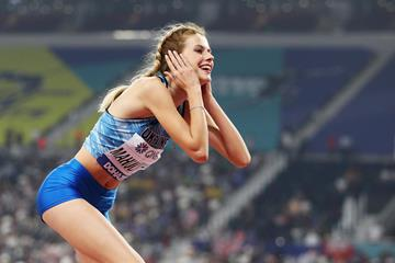 Yaroslava Mahuchikh celebrates her 2.04m world U20 record at the IAAF World Athletics Championships Doha 2019 (Getty Images)