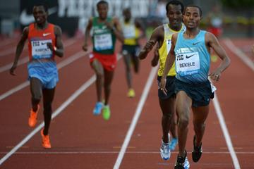 Kenenisa Bekele winning the 2013 IAAF Diamond League meeting in Eugene (Kirby Lee)