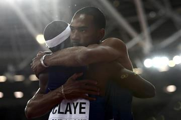 Will Claye and Christian Taylor congratulate each other after the triple jump at the IAAF World Championships London 2017 (Getty Images)