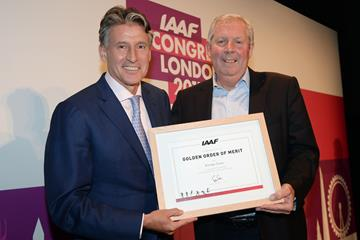 IAAF President Sebastian Coe presents Brendan Foster with the IAAF Medal of Merit (Getty Images)