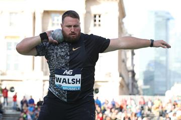 Tom Walsh in the shot put at the IAAF Diamond League meeting in Brussels (Giancarlo Colombo)