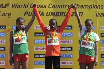 The podium of the women's junior race at the IAAF World Cross Country Championships in Punta Umbria (Getty Images)