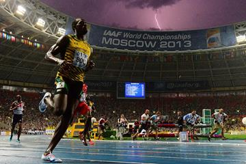 Lightning strikes as Usain Bolt crosses the finish line at the 2013 IAAF World Championships (AFP / Getty Images)