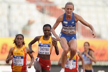 Yuliya Zarudneva just a few strides before her Continental Cup steeplechase record in Split (Getty Images)