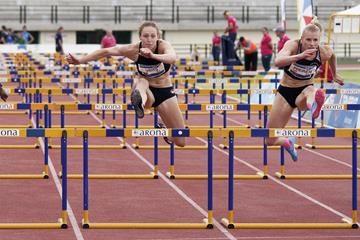 Verena Preiner (right) and Noor Vidts in the heptathlon 100m hurdles at the IAAF Combined Events Challenge meeting in Arona (JJ Vico)