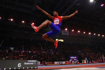 Juan Miguel Echevarria in the long jump at the IAAF World Indoor Championships Birmingham 2018 (Getty Images)
