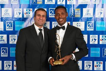 Ethiopian marathoner Lelisa Desisa (r) with manager Hussein Makke (Victah Sailer/AIMS)