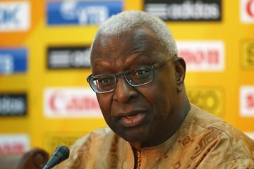 IAAF president Lamine Diack at the press conference ahead of the IAAF Continental Cup, Marrakech 2014 (Getty Images)